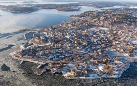 Обои зима, город, фото, сверху, Швеция, Vaxholm