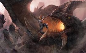 Обои камни, меч, мужчина, дракон, битва, пасть, воин