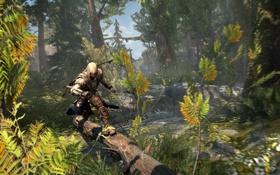 Картинка лес, бежит, коннор, Assassin's Creed III, AC III Frontier Log Run