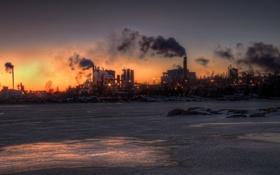 Картинка закат, город, река, завод