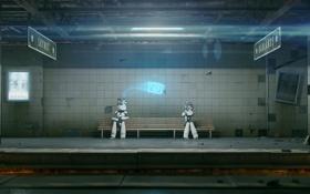 Обои скамейка, метро, фантастика, робот, арт, ожидание, skynet