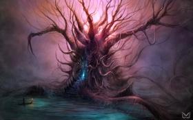 Обои река, фантастика, дерево, лодка, человек, портал, арт