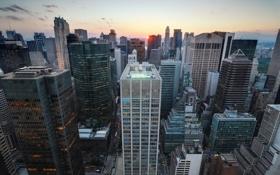 Обои город, Нью-Йорк, небоскребы, утро, США, Manhattan, мегополис