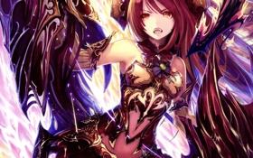 Обои девушка, оружие, аниме, арт, рога, броня, tachikawa mushimaro