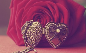 Обои фото, роза, кулон, сердечко, бусинка