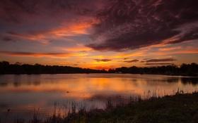 Обои закат, облака, пруд, озеро