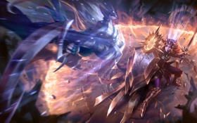 Обои League of Legends, Radiant Dawn, Leona, Scorn of the Moon, lol, diana