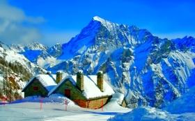 Обои деревья, дома, зима, горы, снег, небо