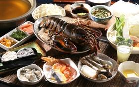 Обои морепродукты, креветки, омар