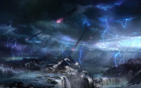 Обои горы, природа, дождь, стихия, арт, метеориты