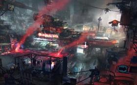 Обои красный, город, транспорт, провода, дым, эйфелева башня, париж