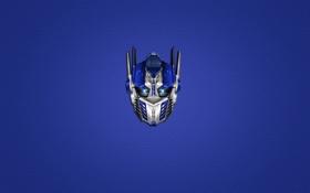 Обои синий, Трансформеры, Transformers, Оптимус Прайм, Optimus Prime, голова, минимализм
