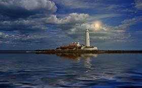 Картинка море, небо, облака, отражение, маяк