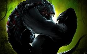 Картинка King Kong, динозавр, борьба, горилла, art, by TheRisingSoul