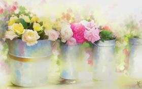 Картинка цветы, розы, рисованные