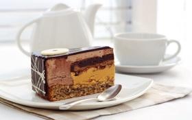 Обои шоколад, чайник, чашка, торт, кусок