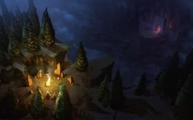 Обои обрыв, лес, ночь, замок, костер, арт, вид сверху