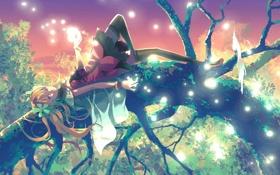 Картинка девушка, дерево, ветка, арт, girl, art