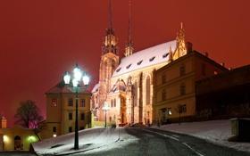 Картинка зима, свет, снег, ночь, огни, дом, замок