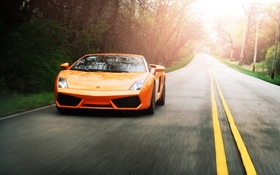 Картинка галлардо, оранжевый, orange, speed, lamborghini, дорога, ламборгини