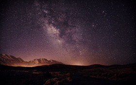 Обои Mountains, Galaxy, Landscape, Silhouette, Space, Stars, Nightscape
