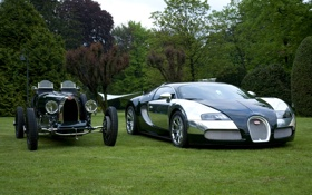 Обои veyron, bugatti, раритет, old, new, centenaire