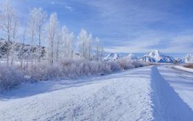 Картинка зима, дорога, небо, облака, снег, деревья, горы