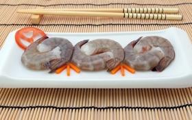 Обои япония, еда, палочки, суши, креветки