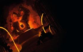 Картинка мальчик, молот, шестерни, голем, наковальня, кузнец, кузнеца
