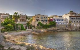 Обои город, фото, побережье, дома, Испания, Baleares, Calviа