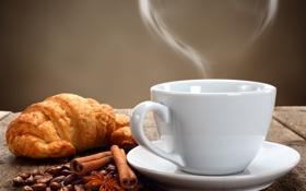 Картинка сердце, кофе, зерна, пар, чашка, корица, блюдце