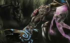 Картинка лес, монстр, руны, воин, носорог, бревно, арт