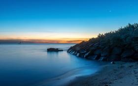 Картинка пляж, пейзаж, океан, рассвет, берег