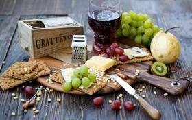 Обои виноград, груши, еда, нож, крекеры, сыр, красное