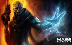 Обои оружие, сила, Mass Effect, dlc, Турианец, Гаррус Вакариан, биотик