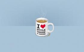 Обои стиль, надпись, сердце, след, крушка, кофе, минимализм