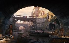 Картинка город, Assassin's Creed Unity, лодка, канал, улица