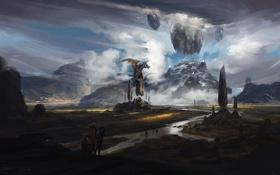 Картинка облака, пейзаж, горы, река, скалы, конь, дракон