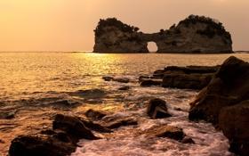 "Картинка море, скала, камни, Япония, ""Кроличья нора"", префектура Вакаяма"