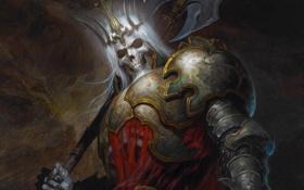 Обои Diablo III, Лич, король, зловещий, корона, доспехи, топор