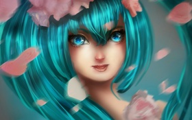 Обои лицо, волосы, vocaloid, Hatsune Miku, fan art, ElMarten