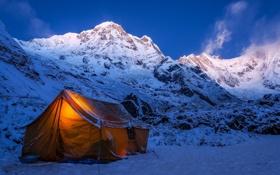 Обои зима, снег, горы, природа, палатка, экспедиция