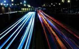 Обои дорога, свет, машины, ночь, огни, улица, фонари