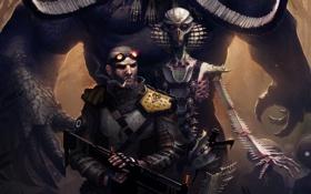 Картинка оружие, монстр, Человек, сигарета, инопланетяне, наемник, шрамы