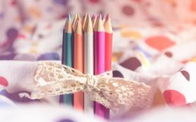 Картинка цветные, карандаши, бант