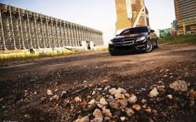 Картинка здания, гравий, мерседес, Mercedes-benz, black car