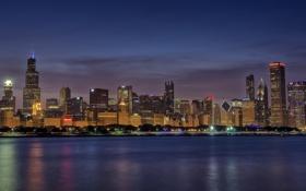Обои город, огни, озеро, дома, Chicago, Skyline, Blue Hour
