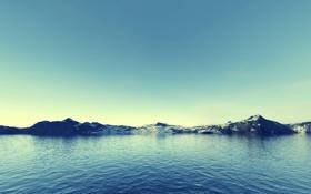 Картинка пейзаж, небо, рассвет, голубое, вода, озеро, горы