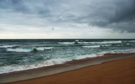 Обои песок, море, волны, пляж, небо, вода, облака