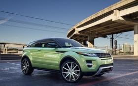 Обои авто, небо, машины, мост, провода, тюнинг, land rover